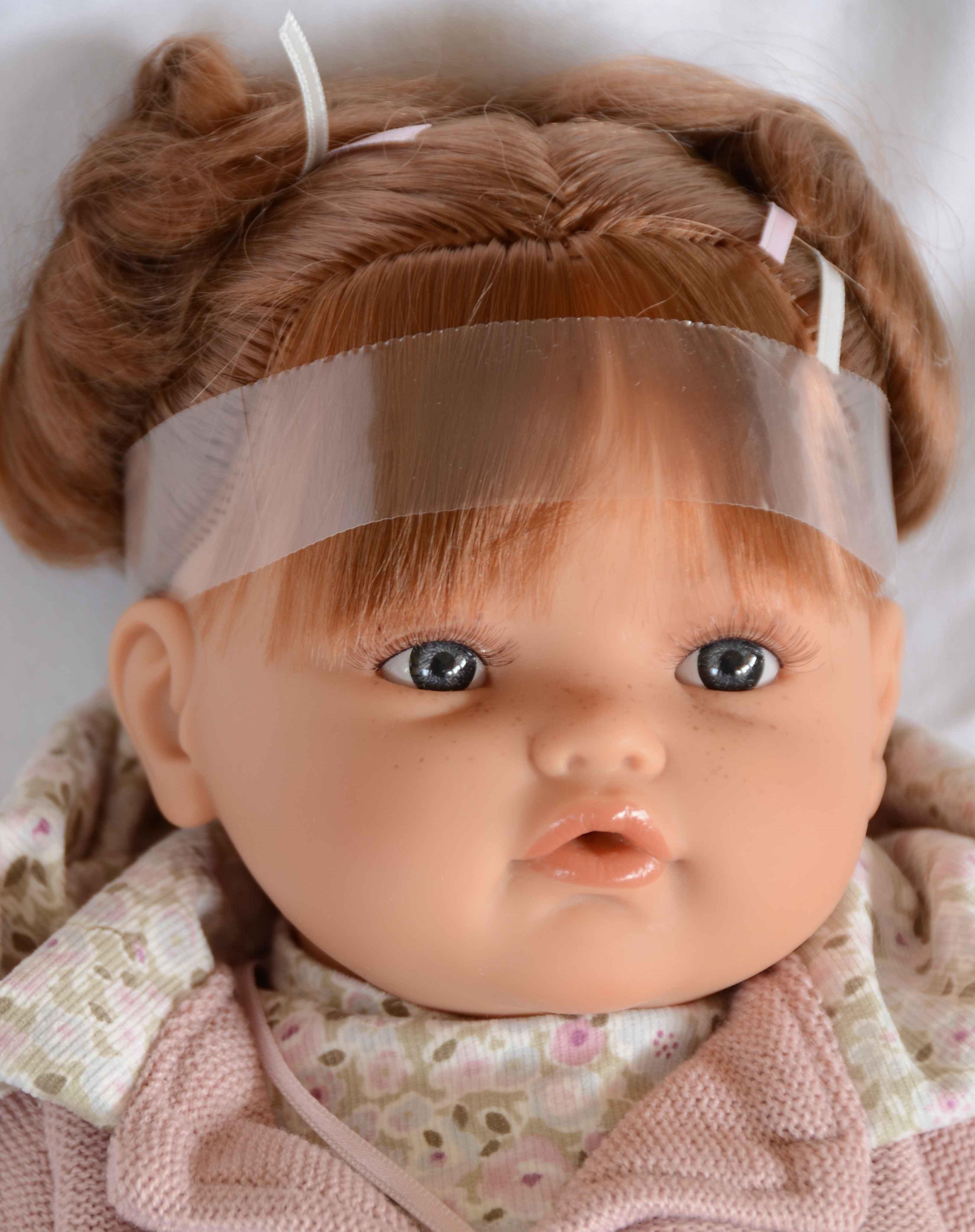 Realistické miminko - holčička- Beni s culíčky - zrzavé vlasy od Antonio Juan