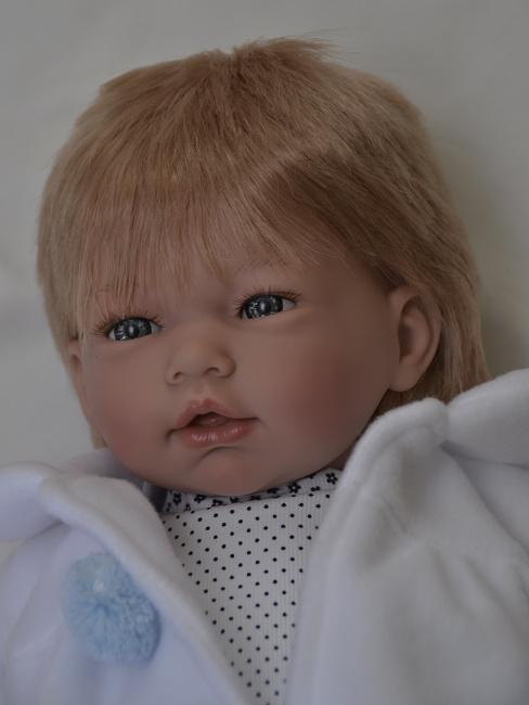 Realistické miminko - chlapeček Adrián v puntíkatých kalhotkách od firmy Guca (Doprava zdarma)