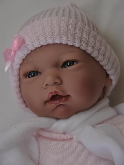 Realistické miminko -holčička Nadia v růžových šatech od firmy Guca ze Španělska