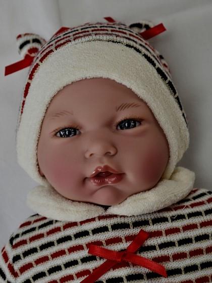 Realistické miminko - chlapeček Adrián v pleteném tričku od f. Guca ze Španělska (Doprava zdarma)