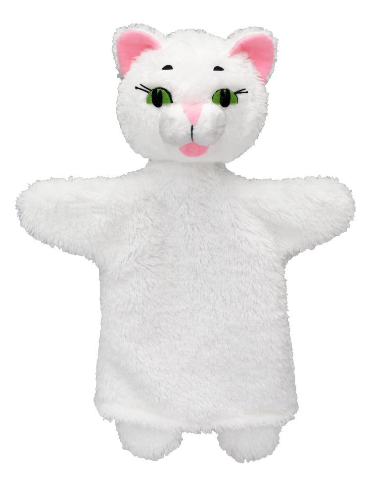 Maňásek na ruku - Kočička bílá (26 cm)