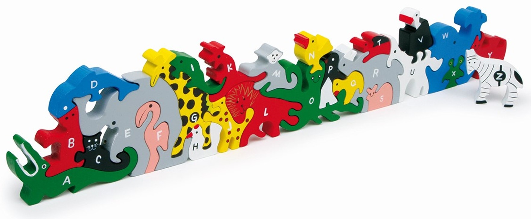 Skládačka Zvířata s písmeny a číslicemi (Dřevěná hračka)