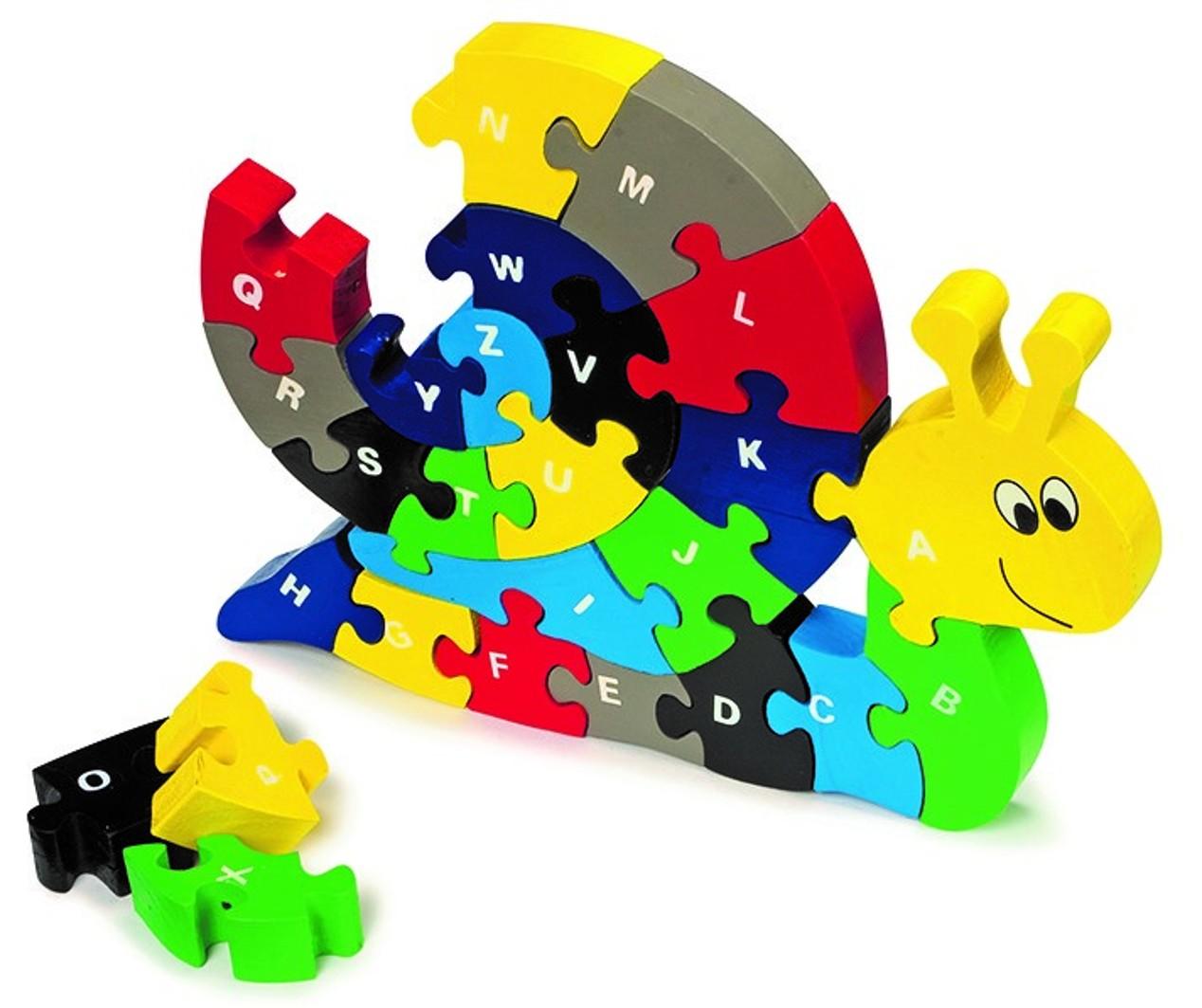 Abecední skládačka Šnek (Dřevěná hračka)