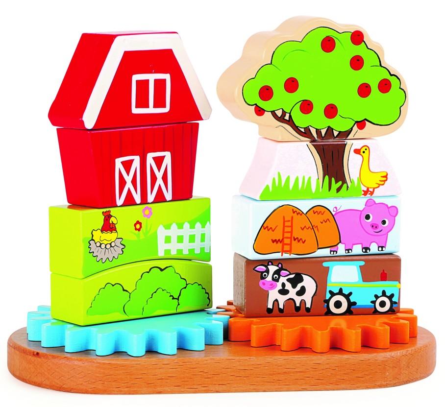 Otáčivá pyramida farma (Dřevěná hračka)