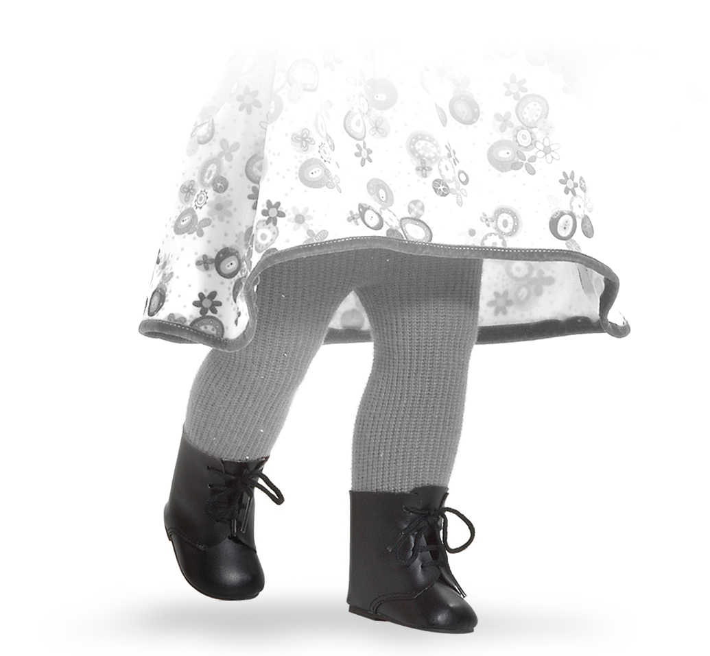 Černé nízké boty na panenky 60 cm vysoké