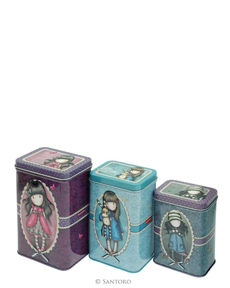 Sada 3 plechových krabiček od firmy SANTORO Gorjuss (Gorjuss Set of 3 Storage Tins - Ladybird, Hush Little Bunny, Toadstoolst)