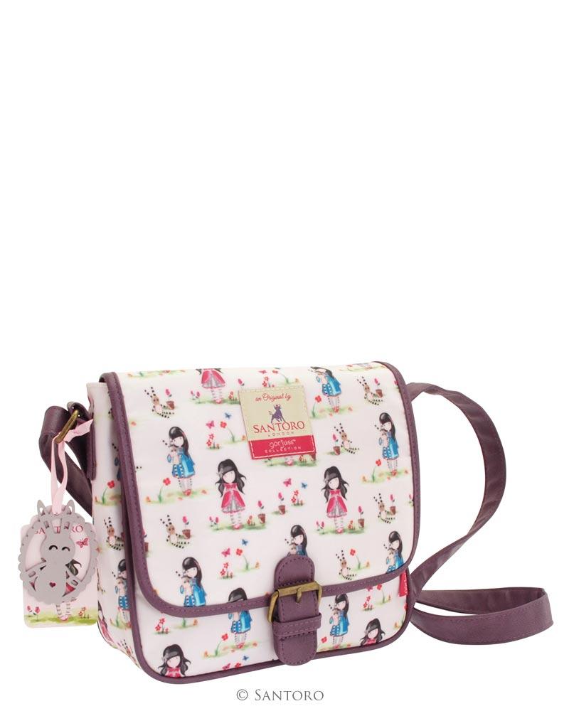 Sedlová kabelka - Pastel Patern Ladybird od firmy SANTORO Gorjuss (Canvas Coated Saddle Bag - Pastel Pattern Print Ladybird)