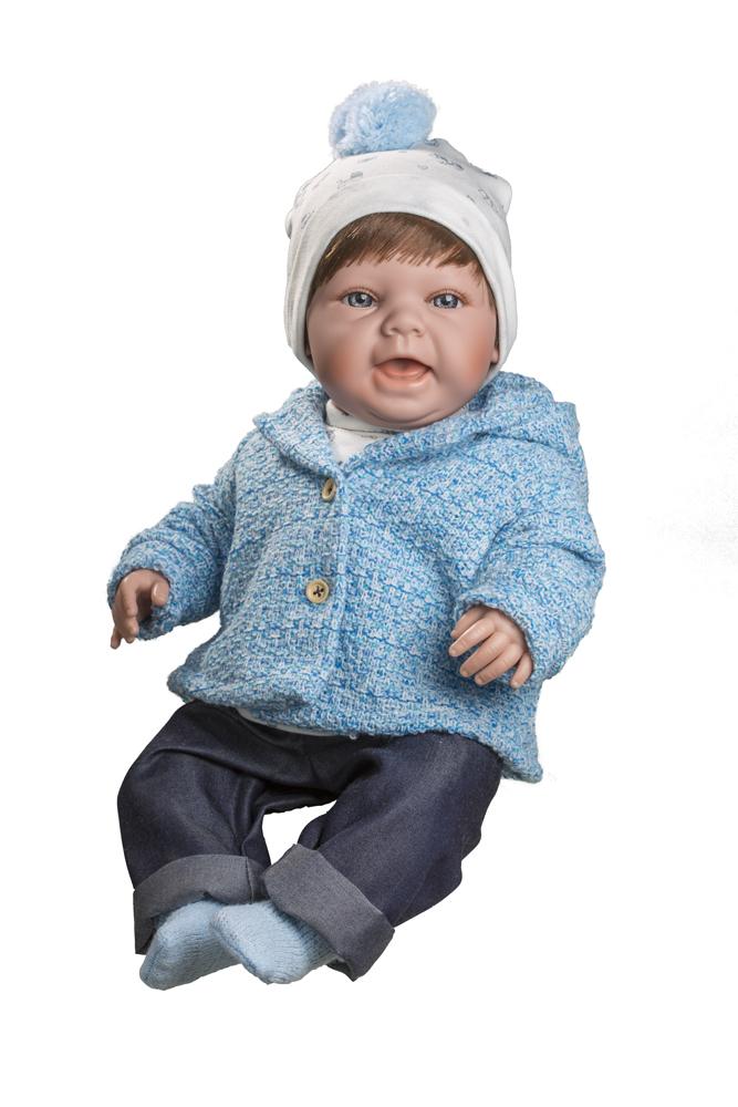 Realistická panenka chlapeček Čestmír v bílém kulichu od f. Berjuan ze Španělska (Doprava zdarma)