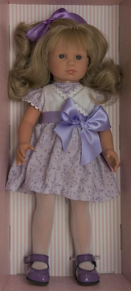 Realistická panenka NELLY - šaty s fialovou mašlí- od firmy ASIVIL ze Španělska