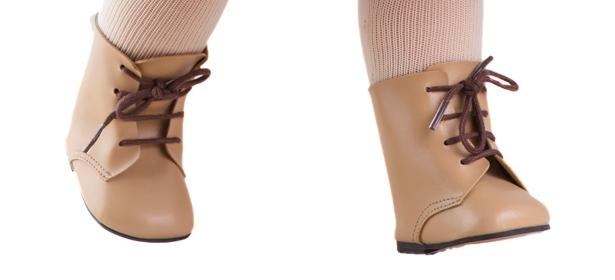 Béžové boty na tkaničky na panenky 60 cm vysoké