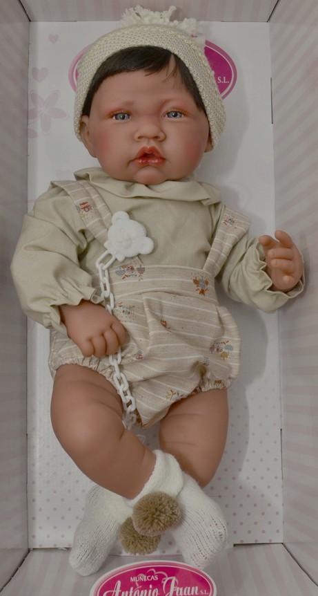 Realistické miminko - chlapeček s vlásky a kulichem od Antonio Juan