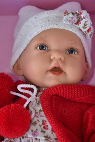 Realistická panenka - holčička - Petit gorra v červeném svetříku