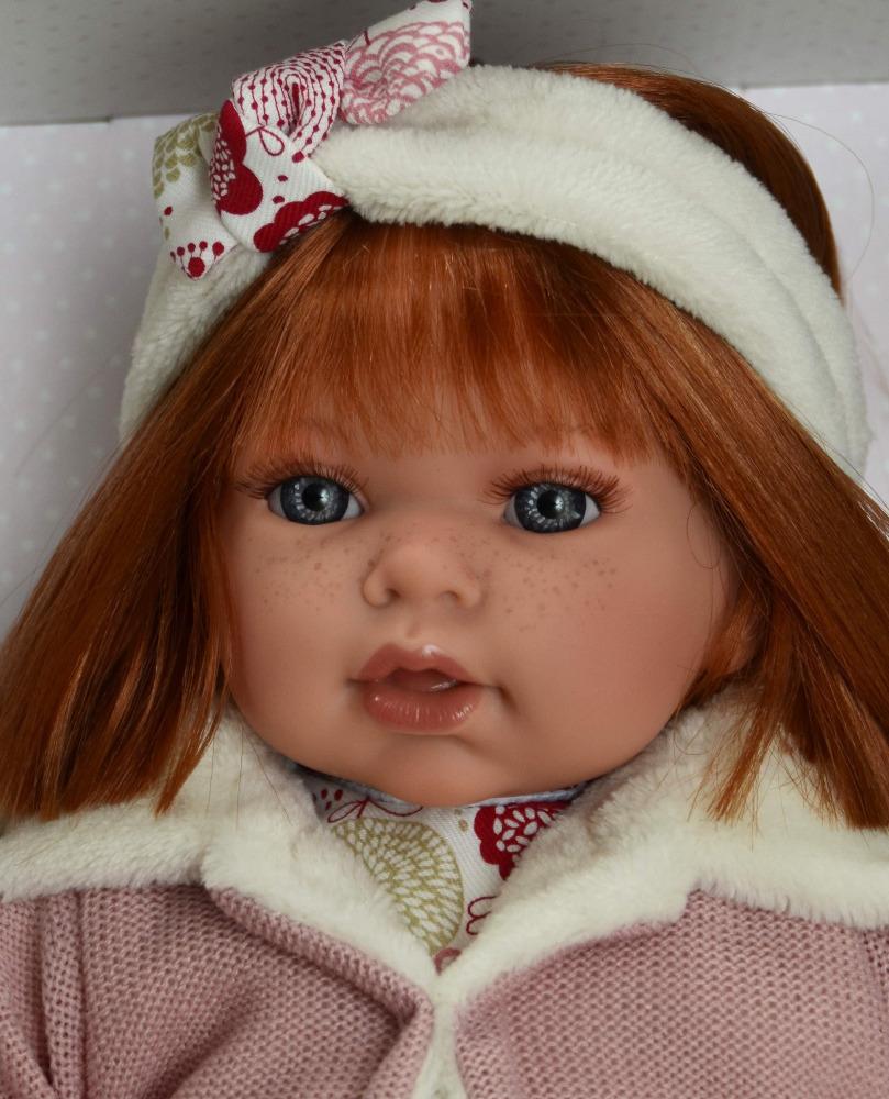 Realistická panenka Antonio Juan - holčička Any s čelenkou - zrzavé vlásky