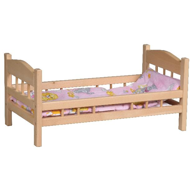 Postýlka pro panenky vč. matrace, přikrývky, polštáře a povlečení