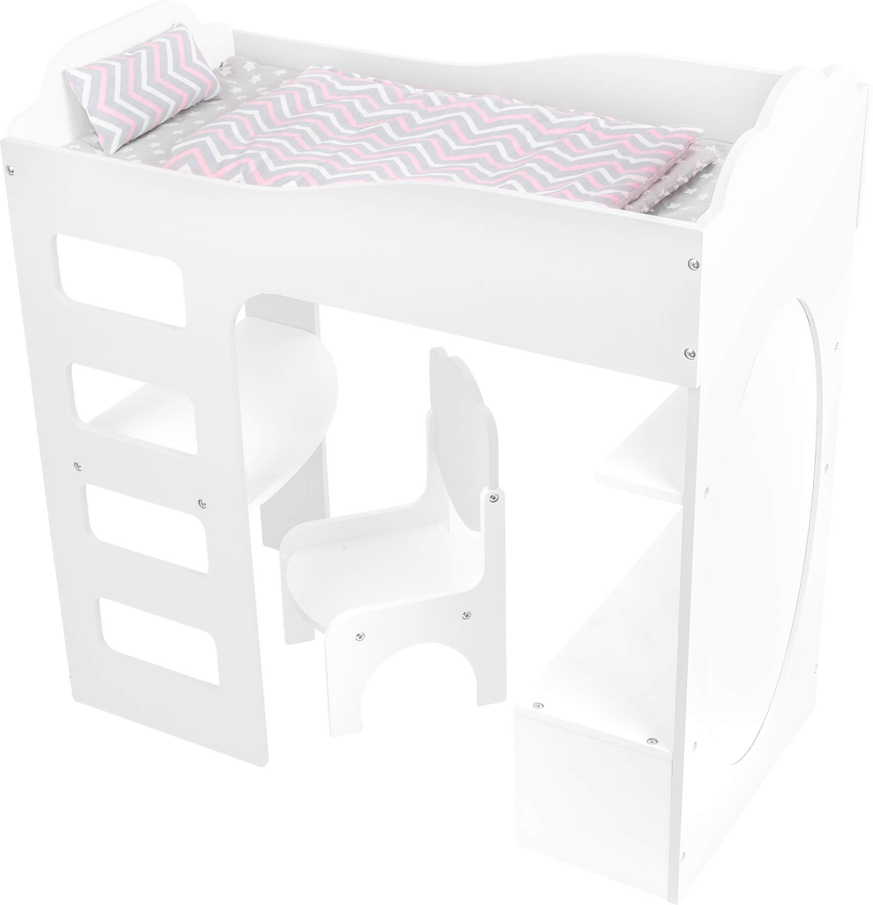 Postýlka pro panenky se stolečkem (Postýlka Legler vč. matrace, polštáře a přikrývky)