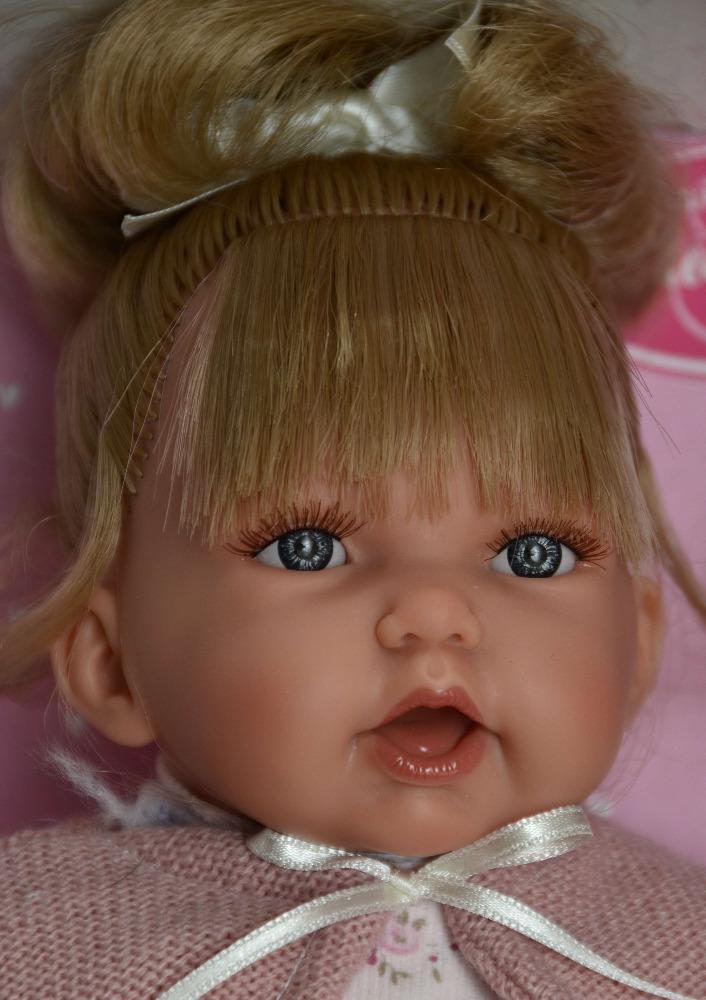 Realistická panenka - holčička - Petit con Coleta - světlý svetřík- od Antonio Juan