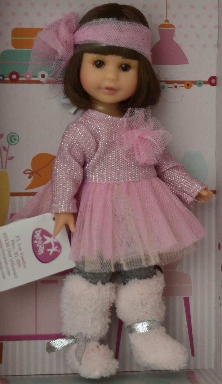 Realistická panenka holčička Irena -tmavé vlásky - růžové šatičky od firmy Berjuan