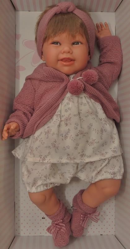 Realistické miminko - holčička Martina s vlásky a čelenkou od Antonio Juan