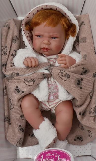 Realistické miminko - holčička Lea - zrzavé vlásky v kabátku od Antonio Juan
