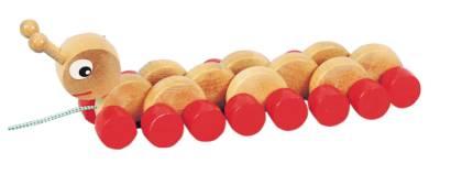 Tahací housenka od firmy Miva Vacov (Dřevěná tahací hračka - Miva Vacov)