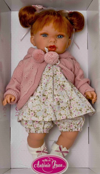 Realistická panenka Antonio Juan - holčička Any- zrzavé vlásky