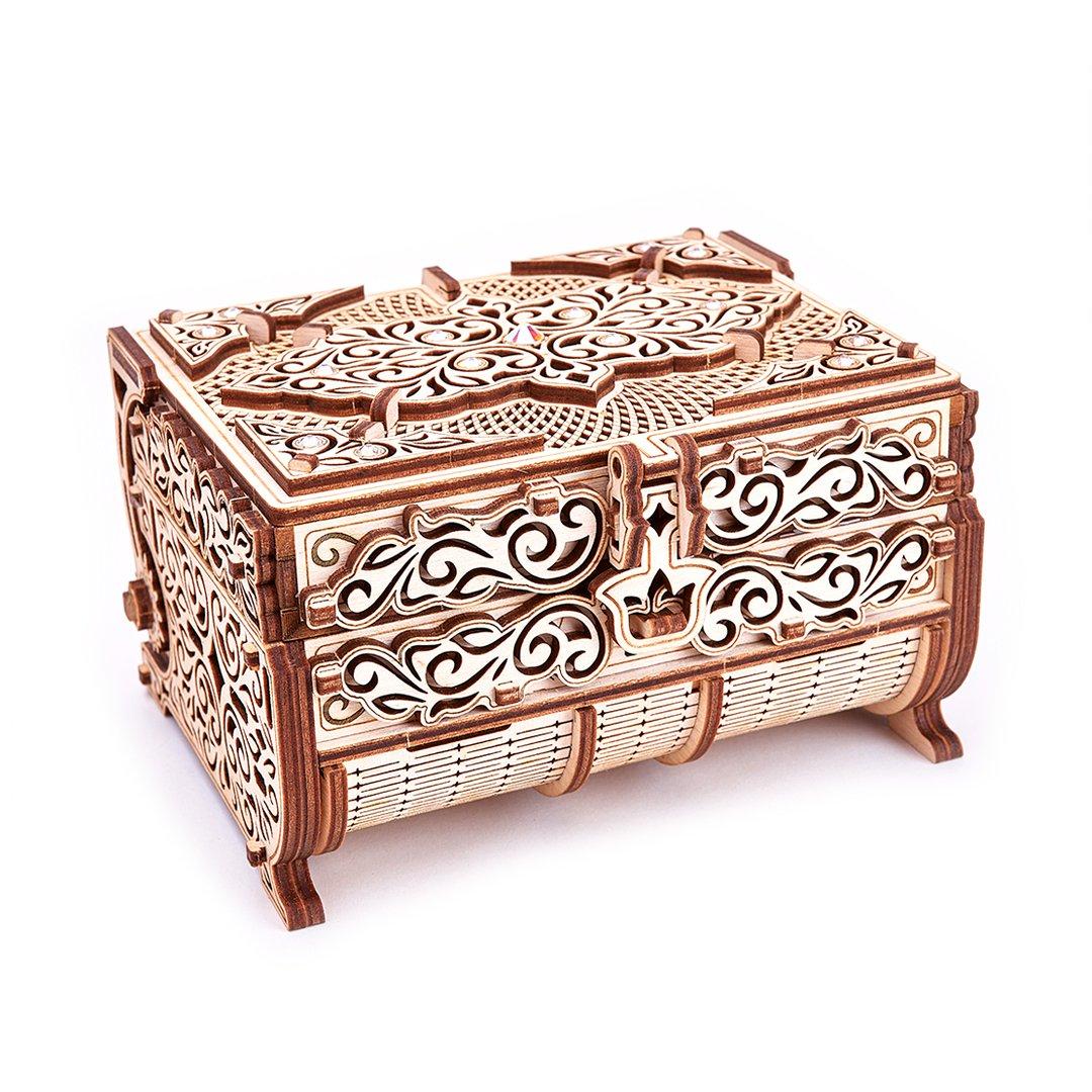 """Wood Trick """"Šperkovnice zdobená drahokamy od firmy Swarowski"""" - 3D dřevěné mechanické puzzle"""