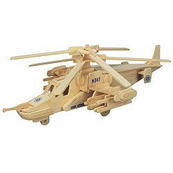 Dřevěné skládačky 3D puzzle letadla - Vrtulník KA-50 P099