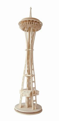 Dřevěné skládačky 3D puzzle - Věž Seattle tower P180 (Dřevěné 3D puzzle dřevěná skládačka známé budovy )