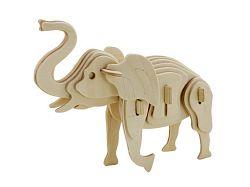 Dřevěné 3D puzzle dřevěná skládačka zvířata - malý Slon