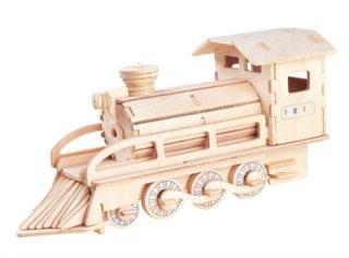 Dřevěné 3D puzzle dřevěná skládačka - Parní lokomotiva