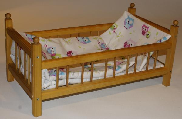 Postýlka pro panenku vč. matrace, přikrývky, polštáře a povlečení