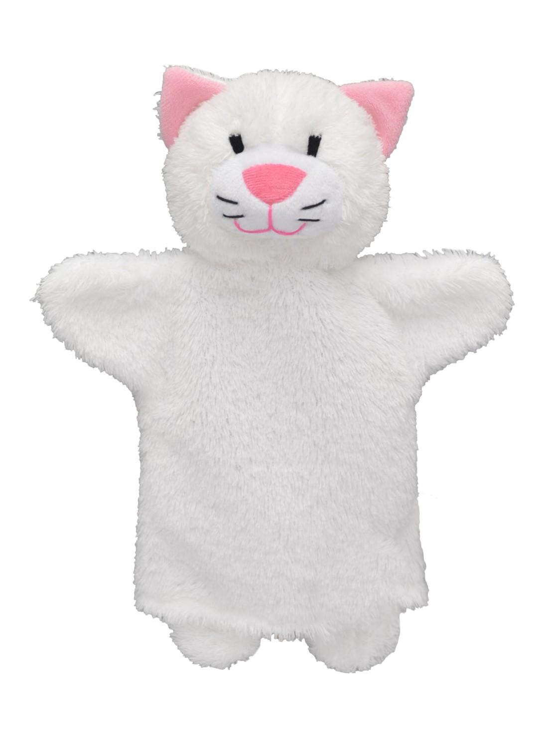 Maňásek na ruku - Kočička bílá (27 cm)
