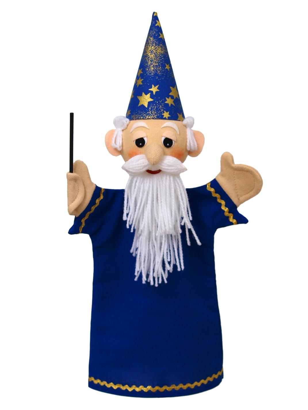 Maňásek na ruku - Kouzelník modrý (36 cm)