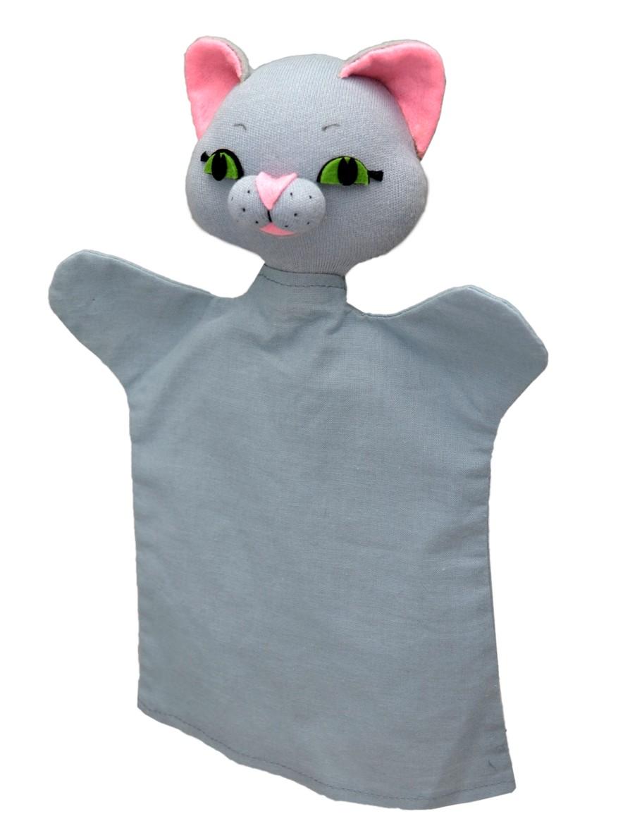 Maňásek na ruku - Kočička šedá (27 cm)