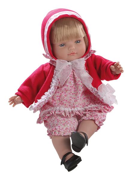 Fotografie Realistická panenka holčička Claudia v červeném kabátku od firmy Berjuan