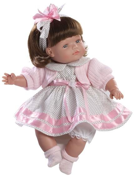 Realistická panenka holčička Claudia v puntíkových šatech od firmy Berjuan