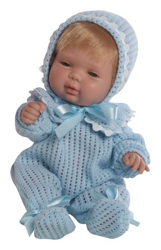 Realistické miminko chlapeček v modrém pyžámku od firmy Berjuan ze Španělska