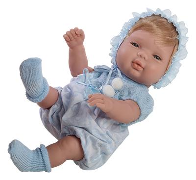 Realistické miminko Chlapeček v modrém oblečku od firmy Berjuan ze Španělska