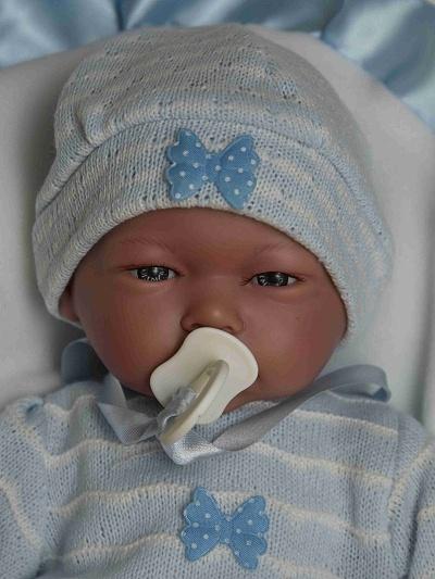 Realistické miminko - chlapeček Samuel na polštářku od firmy Guca ze Španělska (Doprava zdarma)